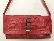 CLAUDIA FIRENZE 100%Genuine Croc ORANGE  Embossed Leather Shoulder Handbag ITALY
