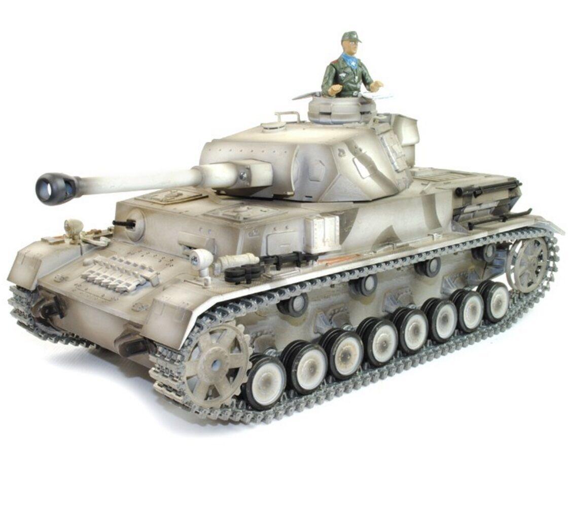 1:16 Taigen Panzer IV F2 Radio Control Tanque 2.4GHz Humo Y Sonido Metal Gear & pistas Nuevo