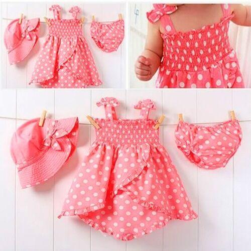 3 pcs Girls Kids Princess Dress+Pants+Hat Summer Clothes Pink Dot Outfits 0-36M