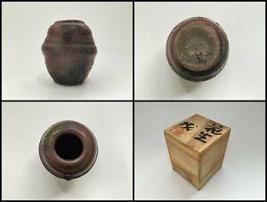 Japanese-Pottery-Flower-Vase-Kabin-Vintage-Signed-Bizen-Ware-Wall-Hanging-X013