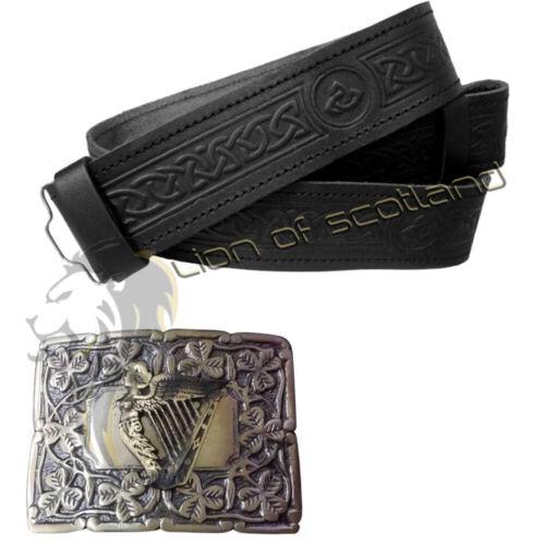 Kilt Scozzese Fibbia Arpa Irlandese Antico celtico in rilievo Kilt cintura nera in pelle