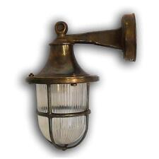 Solid Antique Brass Outside/Exterior/Garden Wall Lantern