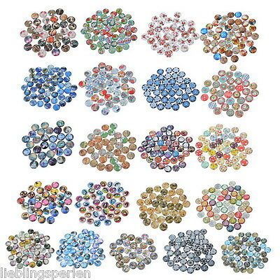 30 Mix Glassteine Lebensbaum Cabochons Klebstein Klebeperlen Glaskuppel 2cm