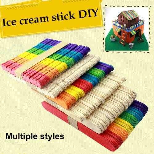 50 PCS Craft Sticks Popsicle Ice Pop Ice Cream Sticks Natural Wooden DIY
