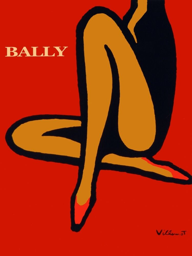 4285.Bally.woman sporting flat schuhe over over over rot bkgd.POSTER cor Home Office art 167633
