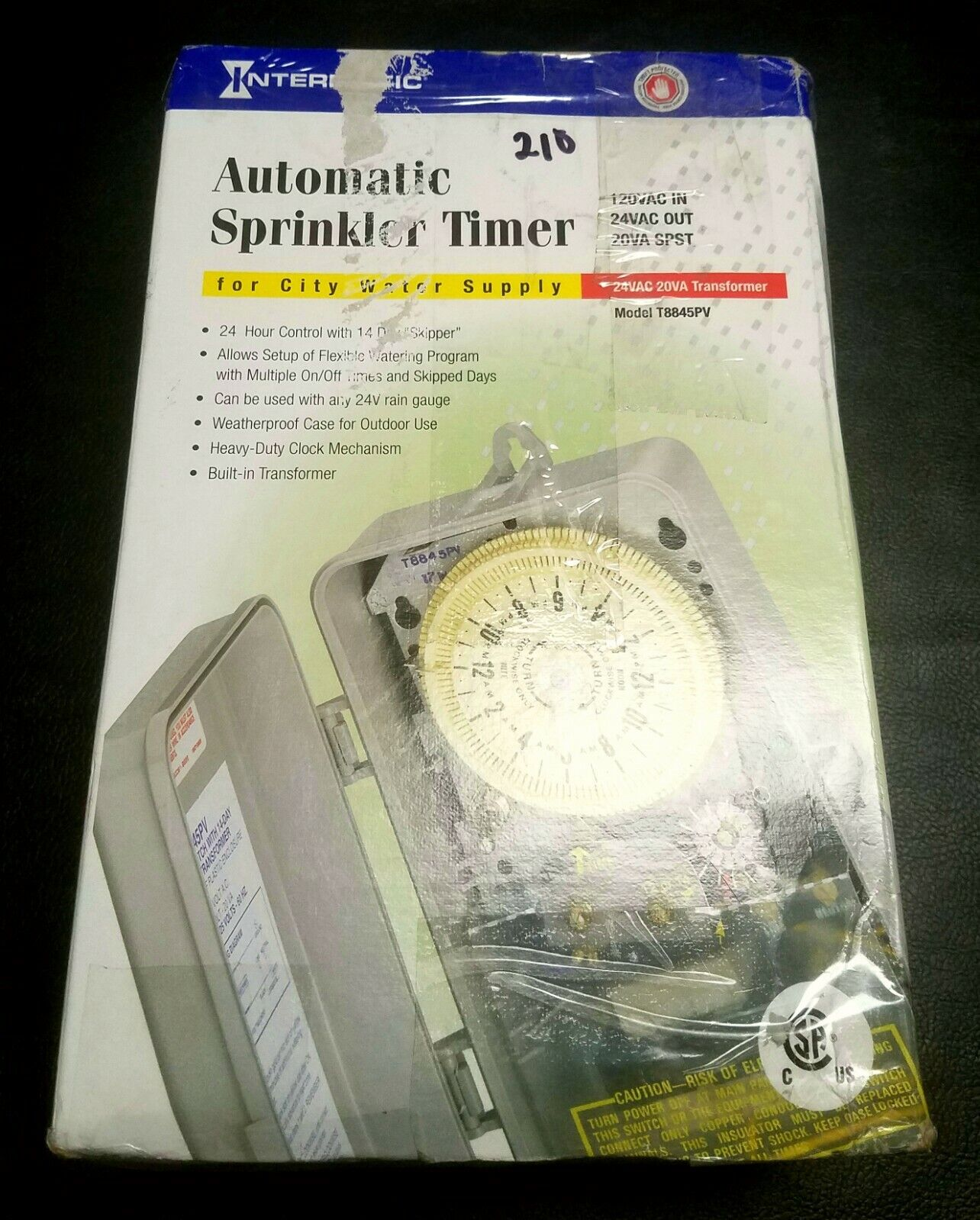 Intermatic Automatic Mechanical Sprinkler Timer For City Water Supply - #T8845PV