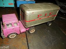 VINTAGE JAPAN PIE TIN TOY TRAILER PACIFIC INTERMOUNTAIN EXPRESS & MARX TRUCK CAB