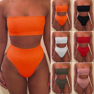 Sexy-Women-Bikini-Set-High-Waist-Briefs-Strapless-Bra-2PC-Swimsuit-Swimwear