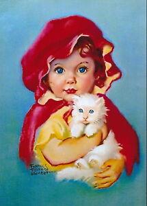 8x10 Tipton Hunter Print Victorian Era Little Red Riding Hood Cloak Hat Girl Cat