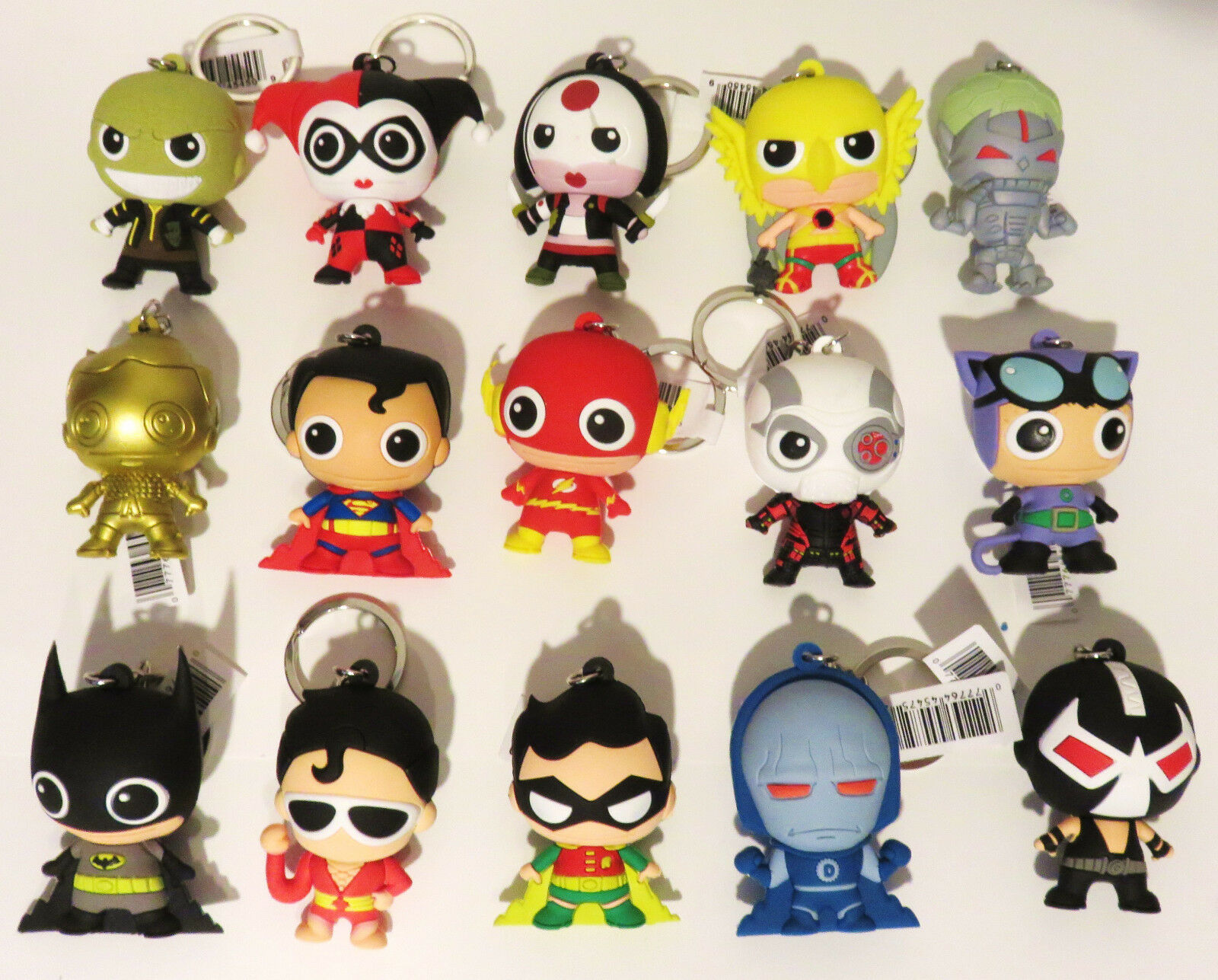 BIG DC Super Powers Figural Keyring 15 Figure Lot Harley Suicide Squad Exclusive