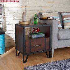 Furniture of America Vintage Walnut Black Brown Wood Industrial Side End Table