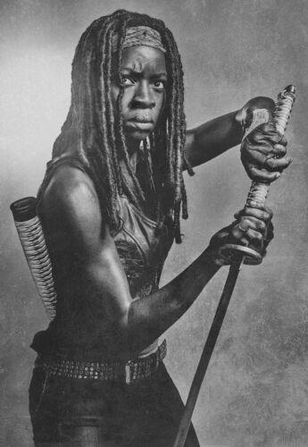 Michonne Noir et Blanc Image Zombie Daryl Negan A3 Walking Dead Affiche