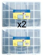 2x Large 18 Compartment Storage Box / Boxes For Beads Craft Jewellery Fishing