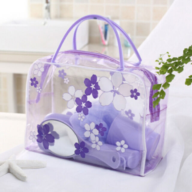 Transparent PVC Flower Waterproof Makeup Toiletry Travel Wash Cosmetic Pouch