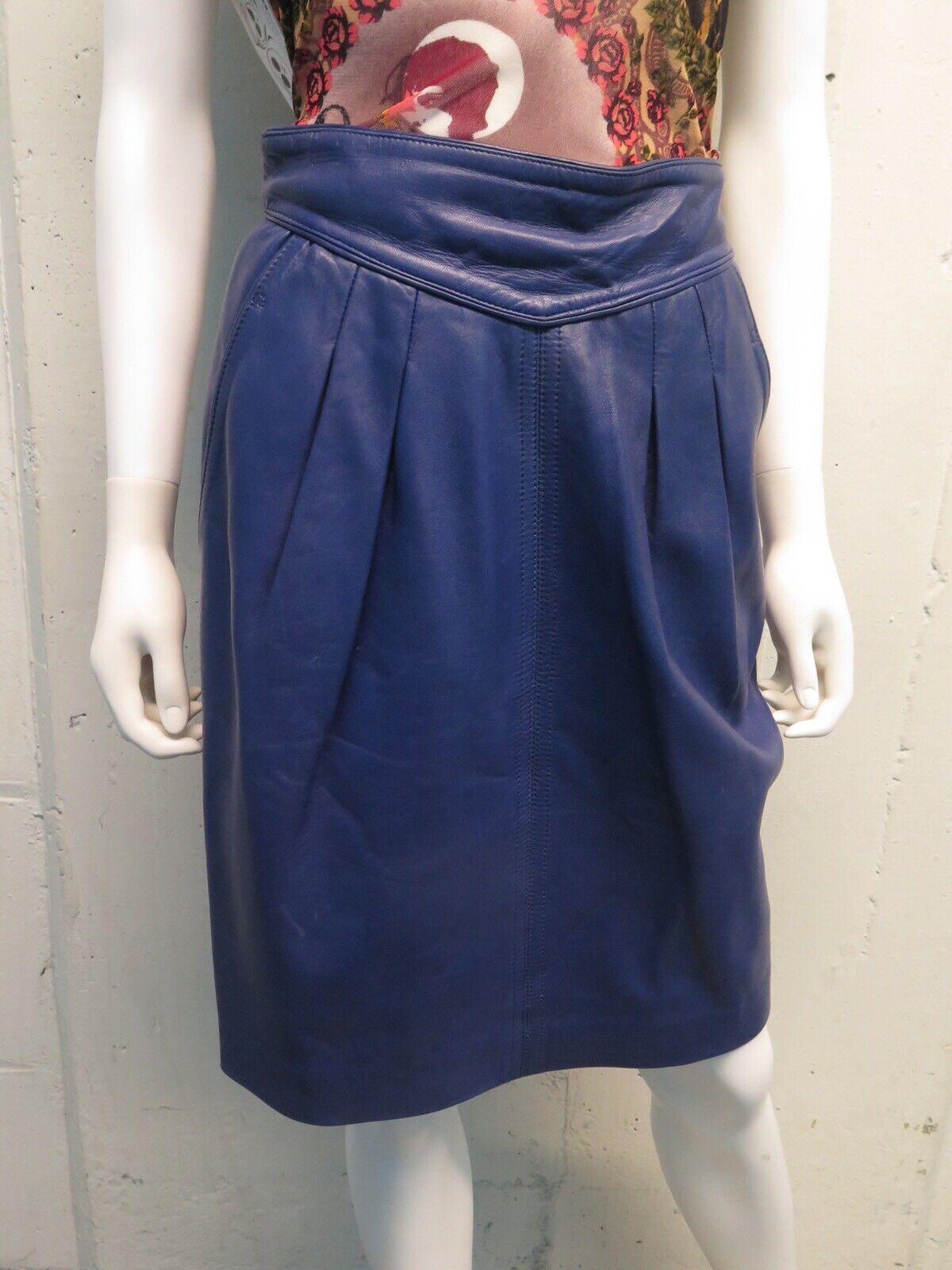 Vintage 80's Loewe Indigo Lambskin Leather Pencil Skirt Sz S