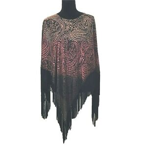 Sterling-Styles-Long-Artsy-Top-Black-Fringe-Ombre-Paisley-Poncho-Shawl-Burnout