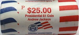 """2008 D Andrew Jackson Presidential /""""Unopened/"""" Mint Dollar 25 Coin ROLL"""