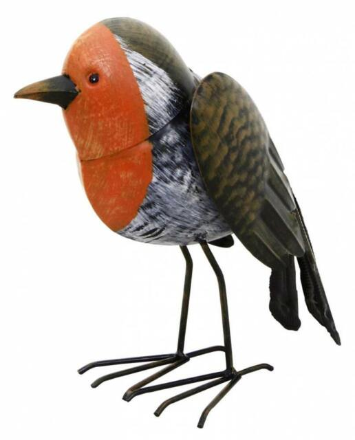 Garden Ornament Robin Red Breast Metal  Hand Painted Bird Outdoor Patio Statue