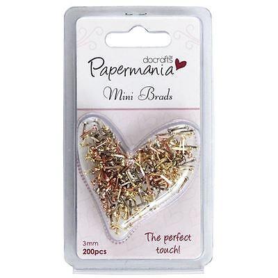 Docrafts Papermania Metallic Mini Brads 200 Pack Split Pins Scrapbook Cardmaking