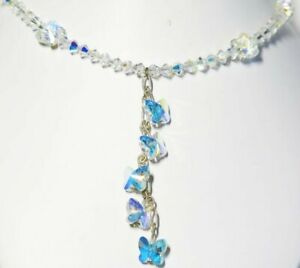 Aqua-Blue-Northern-Lights-Swarovski-Element-Butterfly-20-034-Necklace-Unique
