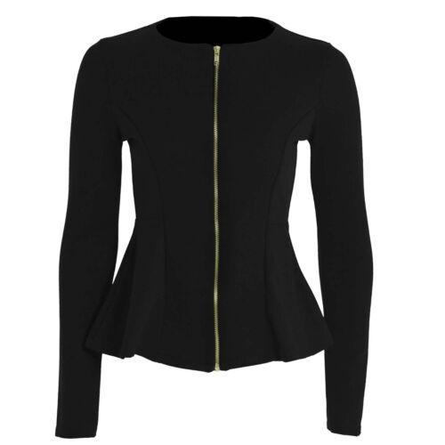 New Ladies Women Stylish Casual Office wear Zip Blazer Jacket Plus Size Top 8-24