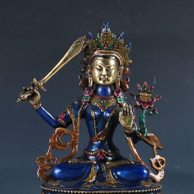 Cloisonne Handwork Bodhisattva Manjusri Bodhisattv Old Copper Statue