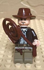 Indiana Jones Indiana Jones w// Whip /& Gun LEGO Mini Figure // Mini Fig