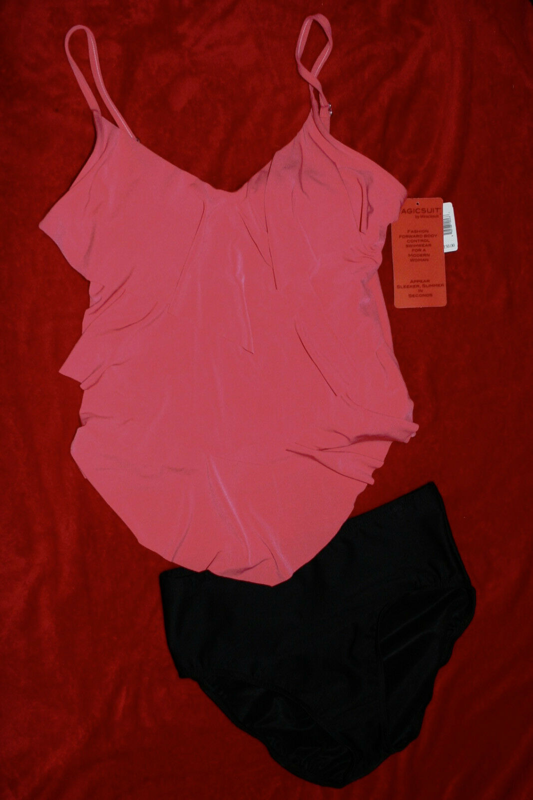 MagicSuit Miraclesuit Tankini Tiered Ruffle Rita Sz 10,14 or 18 Coral Org