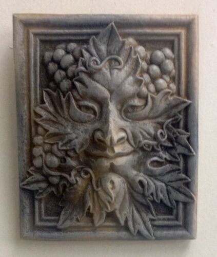 Antique Finish Green Man Berry Forest God Season Leaf Face Mask Wall Sculpture