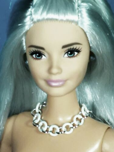 "Barbie Dreamz WHITE /& SILVER HOOP RINGS Mod Choker Necklace 11/"" Doll Jewelry"