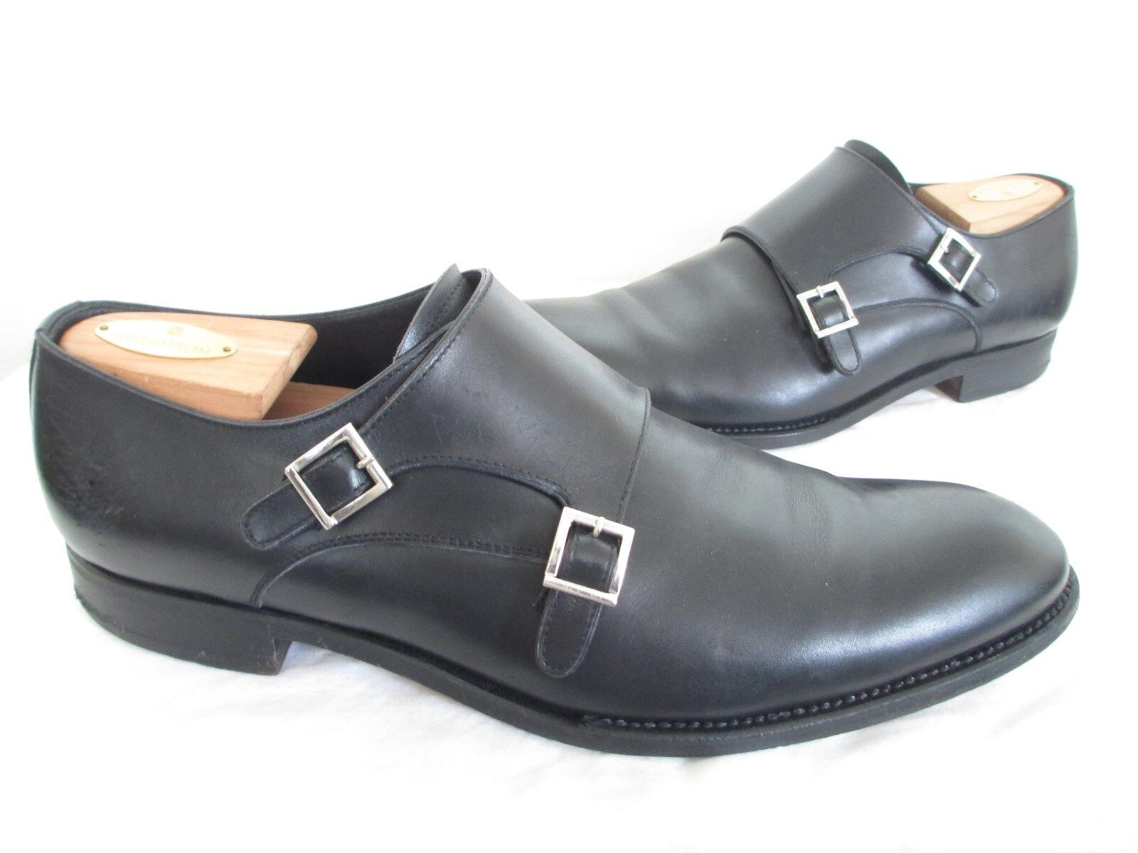 CAMPANILE DOUBLE MONK STRAP BLACK LEATHER ALMOND TOE SHOES MADE IN ITALY SZ 11