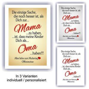 Urkunde Muttertag Fest Geburtstag Geschenk Bild Liebe Mama Oma Ebay