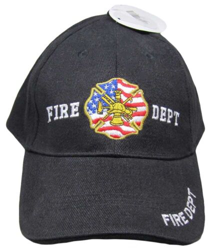 USA Fire Dept Department Seal Black Embroidered Baseball Style Cap Hat RUF