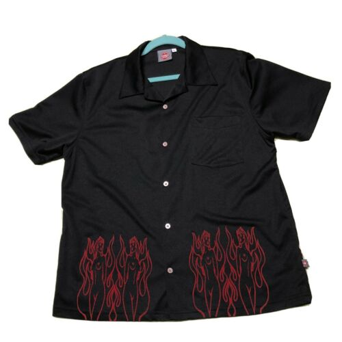 Rare Pornstar Button Up Shirt Flame Devil Girl Fuc