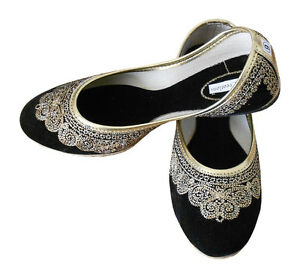 Women-Shoes-Indian-Handmade-Mojari-Black-Ballerinas-Jutties-UK-2-5-7-5-EU-35-42