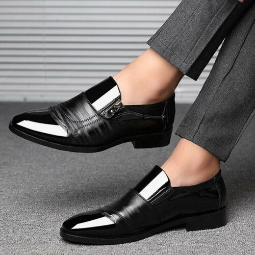 Men Oxfords Leather Shoes Casual Pointed Toe Business Formal Dress Office Shoes