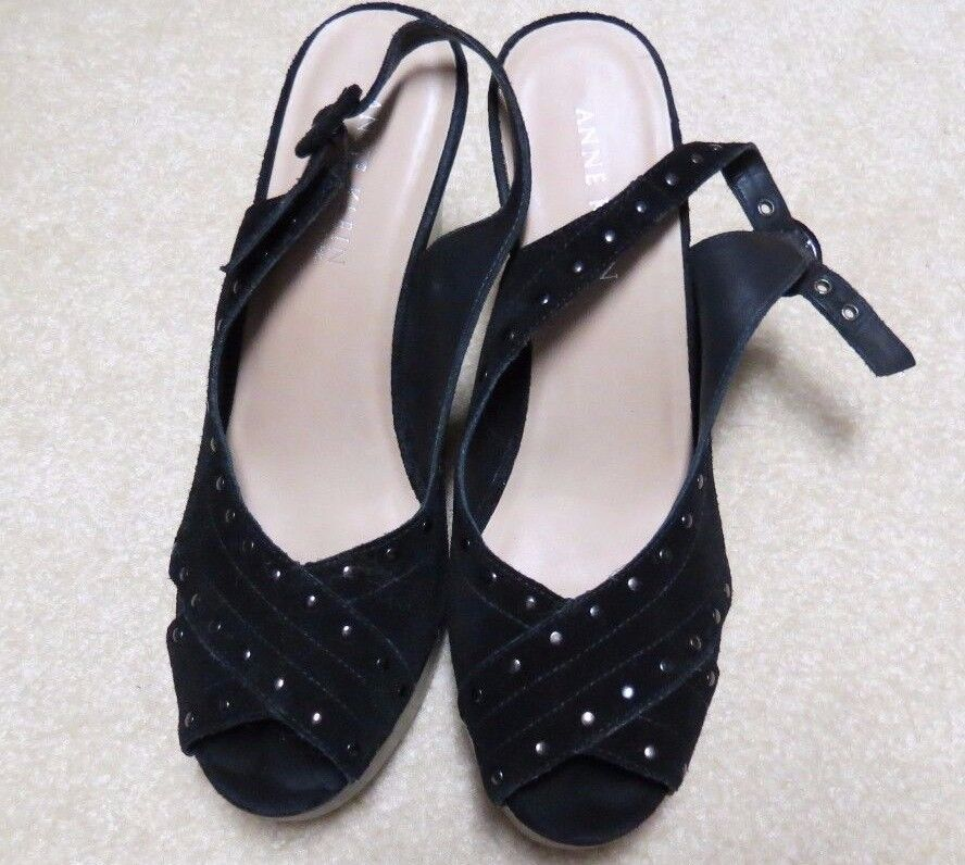 Women's Shoes Anne Klein New York Black 8.5 Wedge Open Toe Sz 8.5 Black M 27e0c8