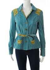 MARC JACOBS Aqua Blue Multi-Colored Cotton Built In Belt Corduroy Jacket Sz S