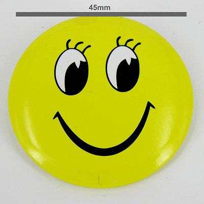"""Smiley Face 45mm 1¾/"""" Pin Badge Button Shop worker x 30 pcs Novelty badges"""