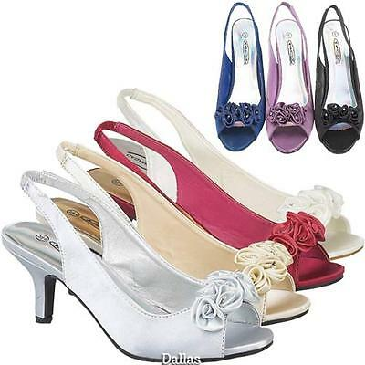 LADIES WEDDING SHOES NEW WOMENS GIRLS PROM HEELS SATIN BRIDAL BRIDESMAID SANDALS