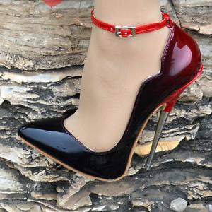 Women's 16cm Wave Stilettos Buckle Pointed Toe Super High Heel Nightclub Shoes