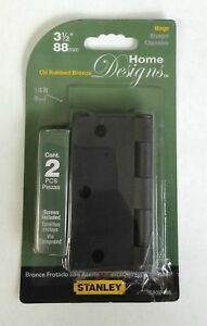 """(6) Stanley Home Designs 3.5"""" Oil Rubbed Bronze Residential Round Door Hinges"""