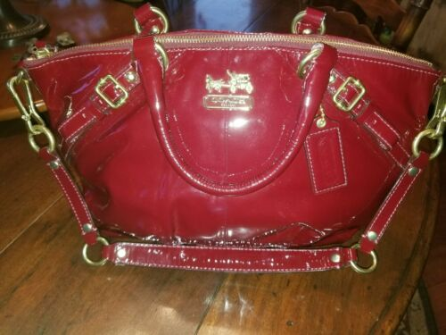 Coach Madison Sophia Red Crimson Gold Patent Leath