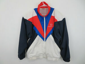 Vintage-80s-90s-Sergio-Tacchini-Nylon-Windbreaker-Sz-42-L-Zip-Jacket-Color-Block