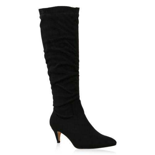 Klassische Damen Stiefel Stiletto Kitten Heels Spitze Slouch Boots 825633 Trendy