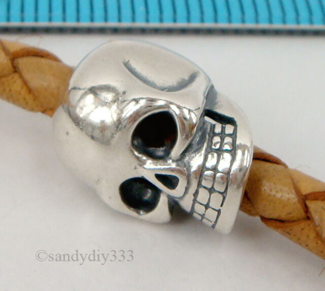 20 pcs OXIDIZED STERLING SILVER SKULL EUROPEAN CHARM BRACELET BEAD 12.8mm #2004H