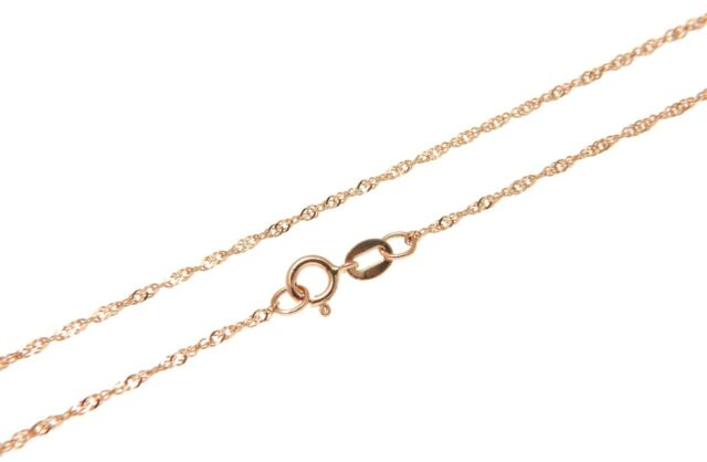 """1MM SOLID 14K ITALIAN PINK ROSE GOLD SINGAPORE CHAIN NECKLACE 16"""""""