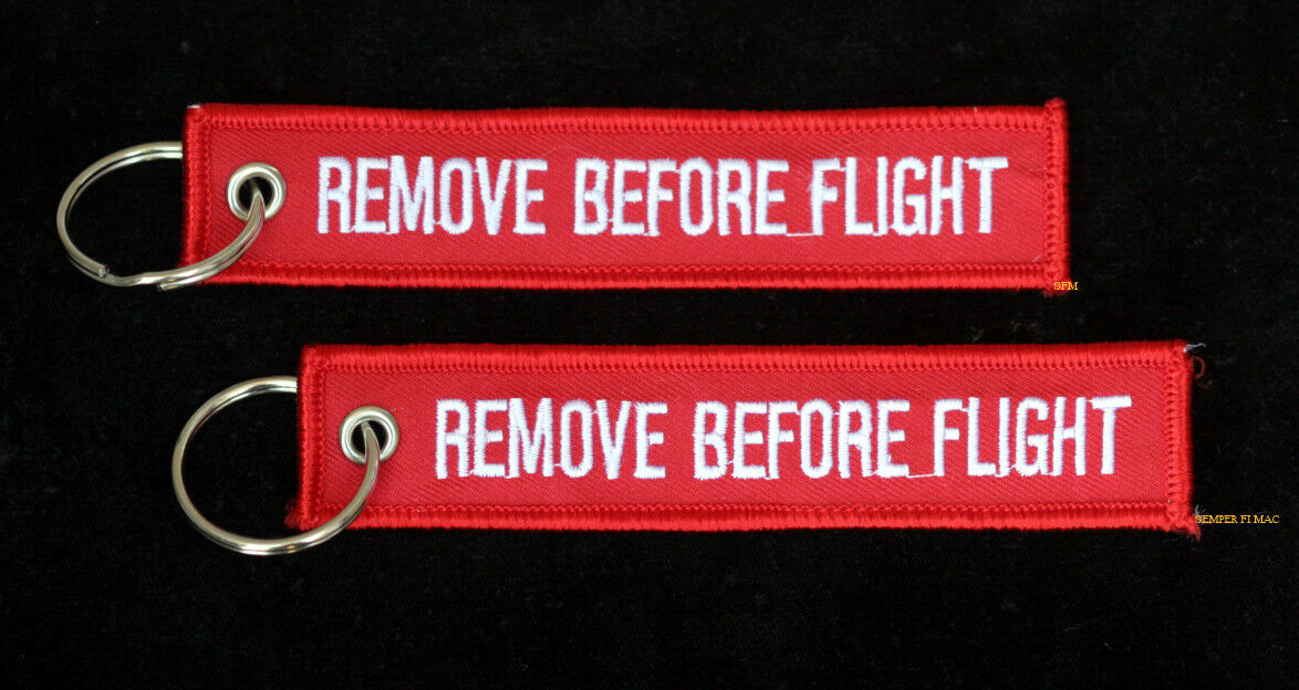 2 EMBROIDERED REMOVE BEFORE FLIGHT KEY CHAIN US MARINES PATCH PIN UP MAW MCAS
