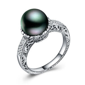 Image Is Loading 925 Silver Fashion Jewelry Round Cut Black Pearl