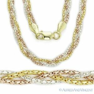925-Sterling-Silver-14k-Yellow-Rose-Gold-Link-Braided-Multi-Chain-Rope-Necklace